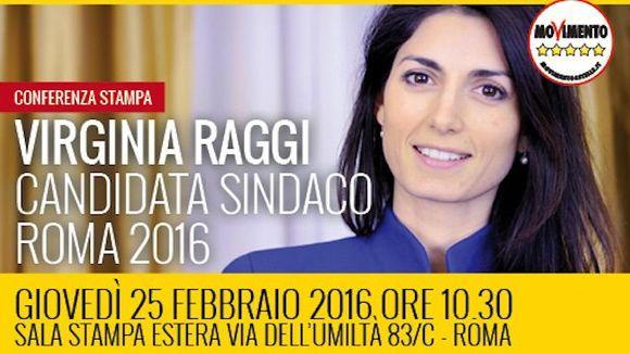 Op 5 juni burgemeestersverkiezing in Rome. M5S's Virginia Raggi  ligt op 10% voorsprong