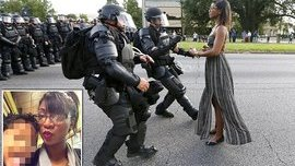 Baton Rouge protester in flowing dress is identified as Ieshia Evans