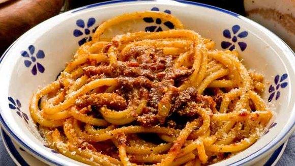Het recept voor Spaghetti all´Amatriciana, uit een dorp in de bergen en in Rome beroemd geworden