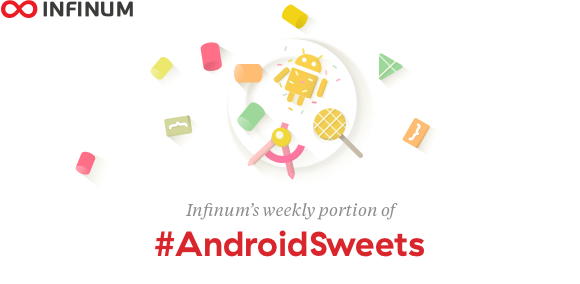 Logo for Infinum #AndroidSweets - weekly dev newsletter